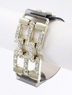 Black and Gold,fashion Clear Leather Rhinestone Accent Bracelet Rhinestone Accent Snap Button Closure Materials Metal Materials Clear Leather Length 8.5 Inch Width 1.0 Inch Unknown http://www.amazon.com/dp/B00KXAQRT0/ref=cm_sw_r_pi_dp_BvMLvb0T6NJX8