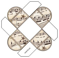 Printable Gift Boxes - Ready to Print all with a vintage sheet music theme