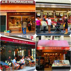 The Rue Montorgueil street market - a semi pedestrian street in the heart of paris where you'll find bars, gourmet shops, cafes and restaurants