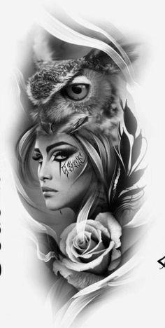 Tattoo hombre espalda alas 24 ideas for 2019 Owl Tattoo Design, Tattoo Design Drawings, Tattoo Sleeve Designs, Tattoo Sketches, Owl Sleeve Tattoos, Indian Tattoo Design, Girl Face Tattoo, Face Tattoos, Body Art Tattoos