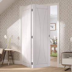 Bespoke Thrufold Verona White Primed Flush Folding 2+0 Door  - Lifestyle Image.    #whitebifolddoors #bifoldoors