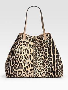 Valentino  Va Voom Studded Leopard-Print Calf Hair Tote Bag