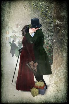 Kiss under the Mistletoe - in the Victorian spririt :) Christmas Carol, Christmas And New Year, Winter Christmas, Christmas Time, Christmas Trimmings, Christmas Journal, Father Christmas, Vintage Christmas Images, Christmas Pictures