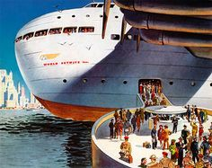 Giant boats were really gigantic back in the days, in the minds of concept artists. Here is the Incredible World Skyways Inc. flying boat from 1943.