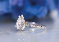 2.70 ct.tw Art Deco Ring-Halo Engagement Ring-Pear Cut Diamond Pear Cut Engagement Rings, Halo Engagement, Diamond Simulant, Art Deco Ring, Halo Rings, Wedding Rings, Rose Gold, Gemstones, Elegant