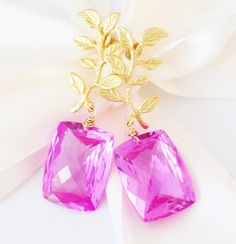 Forget Me Not! Happy Valentines Day Pink Topaz Earrings!