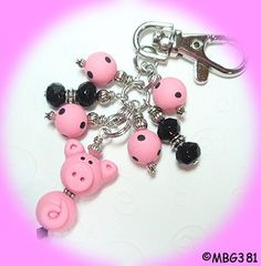 Pig Purse Charm - Handmade from My Bead Garden...
