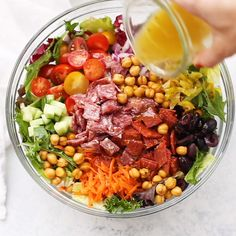 Italian Chopped Salad with Italian Dressing - Bold flavors, bright colors, and an amazing vinaigrette tie this Italian-inspired chopped salad together. Italian Vinaigrette Recipe, Italian Salad Recipes, Italian Chopped Salad, Best Salad Recipes, Cucumber Recipes, Healthy Recipes, Chopped Salads, Chopped Salad Recipes, Shrimp Recipes