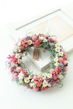 春のお花畑風ドライフラワーリース