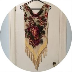 Gypsy Draped Yellow Beaded Silky Top Cheaper on Merc. Very cute, vintage bohemian hippy style. This tank drapes alluringly with a woman's curves great for anyone trying to make a fashion statement and get your voodoo on! Can fit S-M Vintage Tops Camisoles