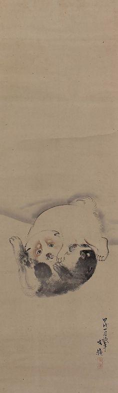 Playful Japanese Puppy Dog by Maekawa Bunrei. Edo period. Japanese hanging scroll painting.