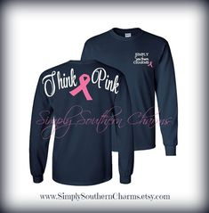 Long Sleeve Breast Cancer Awareness Tshirt by SimplySouthernCharms