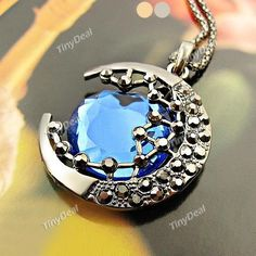 Moon Gem Design Hollow Pendant Necklace Fashion Sweater Chain for Lady DJA-369046