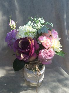 Peony Rose Rustic Wedding Centerpiece. Romantic Purple Pink Green Silk Wedding Flowers Decorations. Baby Shower, Party and Events Centerpiece. by LeAtelierDesigns, $45.00