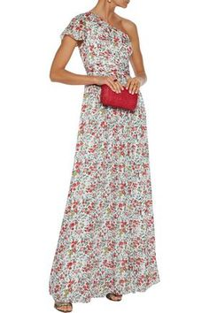 Shop on-sale One-shoulder pleated floral-print burnout georgette gown. Browse other discount designer Gowns & more luxury fashion pieces at THE OUTNET Coat Dress, Jacket Dress, Summer Wedding Gowns, Strapless Dress Formal, Formal Dresses, Designer Gowns, Dress Outfits, Luxury Fashion, One Shoulder
