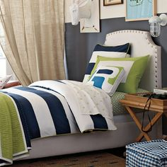 navy white and green boys room   Bedroom. Modern blue and white bedding sets combined with green color ...