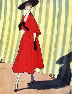 Christian Dior 1949 René Gruau, Fashion Illustration