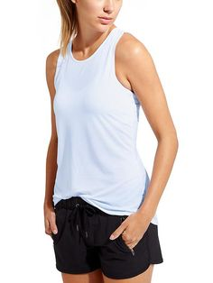Essence Moonbeam Tank - Customer-favorite, barely-there fabric goes from lunch to workout in this top with feminine details.