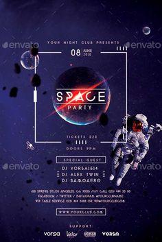 Space Party Flyer Template - http://ffflyer.com/space-party-flyer-template…