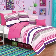 Amazon.com: Pink Gray Purple White Kids Girls Striped 5 Piece Twin Comforter Set: Bedding & Bath