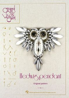 pendant tutorial / pattern Hedwig the owl  PDF by beadsbyvezsuzsi