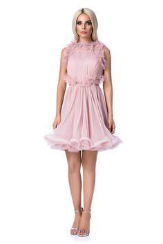 Rochie Ana Radu rosa de lux in clos din tul captusita pe interior cu spatele decupat Corset, Satin, Interior, Floral, Dresses, Fashion, Tulle, Indoor, Moda