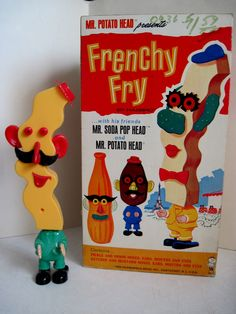Frency Fry, one of the Mr. Potato Head Picnic Pals toys, c. 1966. From Tracy's Toys (and Some Other Stuff) blog.