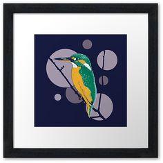 """Kingfisher on a bough"" Framed Art Print by Savousepate on Redbubble #framedartprint #artprint #homedecor #kingfisher #bird #circles #blue #purple #mauve #green #turquoise #orange"