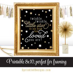 Twinkle Little Star Do You Know How Loved You Are Printable Nursery Art Birthday Sign - Black White Gold Glitter Big One - INSTANT DOWNLOAD by SprinkledDesign