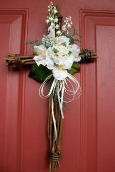 """Cross Wreath - 15x9"""" Grapevine Easter/Spring/Summer by Silkmama.com, http://www.amazon.com/dp/B0057RF6YQ/ref=cm_sw_r_pi_dp_MVogrb04D7WYH"""