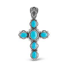 Sterling Silver Sleeping Beauty Turquoise Cross Pendant Enhancer ** For more information, visit image link.