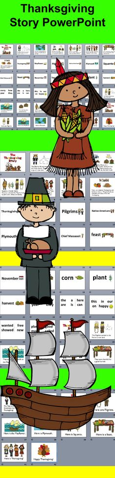 $3.25 Thanksgiving Story PowerPoint Presentation - 3 Reading Levels and Vocabulary Slides - 42 slides - Use with or without my Thanksgiving Mini Book Readers.  This presentation includes all 3 reading levels of The Thanksgiving Story, as well as slides of the vocabulary.
