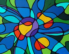 Garden Goddess  By Sharon Cummings  I love the colors in this work. Such vibrant blue and yellow and red combined with amazing shapes. What a great painting.