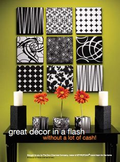 Totally love this idea.  Each 12 x 12 square is made from Styrofoam and covered with your choice of scrapbook paper.  You could also use fabric.  I love the black and white motif.