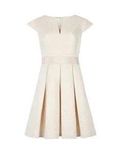 Metallic jacquard dress - Cream | Dresses | Ted Baker
