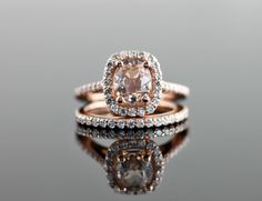 Rose Gold Engagement Ring with Cushion Diamond Halo and Morganite Center Stone Set by TheClassicGemJewelry on Etsy https://www.etsy.com/listing/226839487/rose-gold-engagement-ring-with-cushion