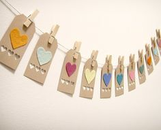 Heart garland - felt and paper tag with peg & string garland - by piccaboo on madeit. Bunting Garland, Heart Garland, Buntings, Garlands, Christmas Crafts To Sell, Christmas Ideas, Paper Banners, Paper Tags, Homemade Gifts