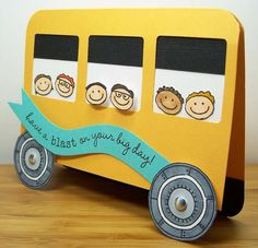 school bus card for teachers in elementary school Teachers Day Card, Teacher Cards, Teacher Gifts, Kids Cards, Baby Cards, Preschool Crafts, Crafts For Kids, Bus Driver Gifts, Shaped Cards