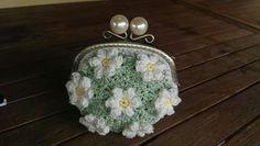 Crochet uncinetto flowers kiss-lock moneypoket portamonete