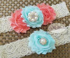 Wedding garters Set,Aqua Garters,Peach garters,Bridal Garter Sets,Aqua and Peach Garter,Aqua Peach Wedding,Vintage garter,Custom garter belt