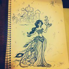 princess jasmine #drawing #pen