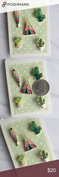 Restocked! Cactus & Camping Pin Set Adorable pin set! Featuring 5 pins: Feather, cactus, tent/teepee, succulent, and potted cactus. Can be added to shirts, hats, bags, shoes, sweaters...you name it!  ✔️If you'd like to MAKE AN OFFER please do so through the offer button ONLY. I won't negotiate prices in the comments.  ✔️All items $15 and under are firm unless BUNDLED.  ❌No trades, PayPal, Holds 📷Instagram: @lovelionessie Accessories