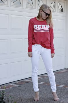 "Chaser ""Beer"" sweatshirt with J.Crew white jeans"