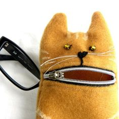 Pencil case Eyeglass case Ginger hungry cat wool