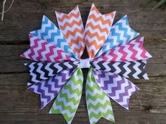 Colorful Chevron Spiked Pinwheel Hair Bow by KenyasCreations2012, $3.99
