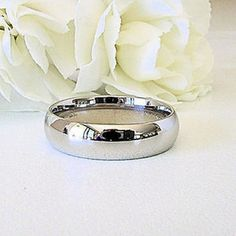 9K White Gold GF Mens Womens Comfort Fit Wedding Band 4mm Sizes 6 8