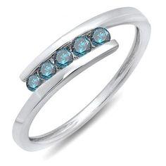 Thanks for Sharing!  0.25 Carat (ctw) 14K White Gold Round Blue Diamond Ladies 5 Stone Bridal Promise Ring 1/4 CT - Dazzling Rock #https://www.pinterest.com/dazzlingrock/