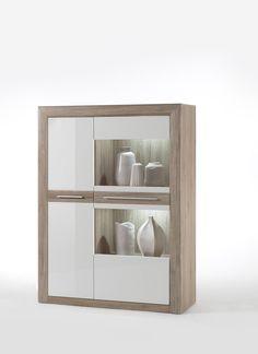 Highboard L Lana Hochglanz Weiß und Sanremo Sand passend zum Möbelprogramm Lana 1 x Kombi-Highboard links mit 1 Glastür 1 Holztür und Einlegeböden Maße:...