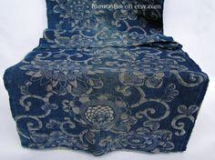 antique Katazome cotton folk textile - Meiji era (~100 to 150 years old) handspun, handwoven with floral design