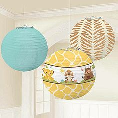 These Sweet Circle of Life Lanterns feature a baby Lion King printed lantern, a tiger striped lantern, and a solid color paper lantern.